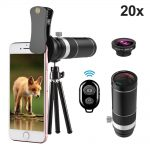UMTELE 20X Telephoto And Fisheye Lens + Mini Tripod Android And iPhone Cell Phone Lens Review